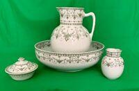 Vintage Washbowl & Pitcher Set w Accessories, Royal Doulton, England, Josephine