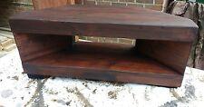 Corner Rustic Pine TV Unit  chunky wood 110 cm  stand/cabinet - dark mahogany