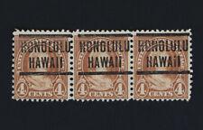 Strip of 3 Honolulu Hawaii Precancel 4c Martha Washington 1927 Scott #636
