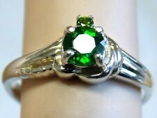 NATURAL GREEN RUSSIAN CHROME DIOPSIDE RING SIZE 7 925 STERLING SILVER USA MADE