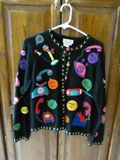 New listing Sweater M Vintage Telephone Phone Design Large Black Colorful