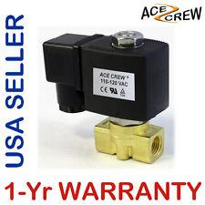 VITON 1/4 inch 110V-120V AC Brass Solenoid Valve NPT Gas Water Air 1-Yr WARRANTY