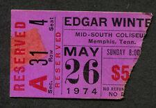 1974 Edgar Winter Rick Derringer concert ticket stub Memphis Shock Treatment