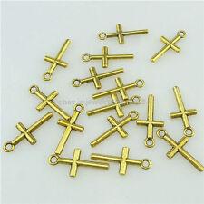 16332 100PCS Golden Faith Religious Mini Cute Cross Pendant Charm