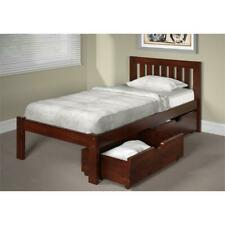 Dylan Wood Single Twin Bed with Under Bed Drawers in Espresso