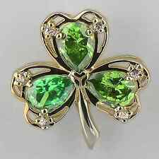 """Gold Plated Sterling Silver Lucky Green Shamrock Pendant On 18"""" SS Chain"""