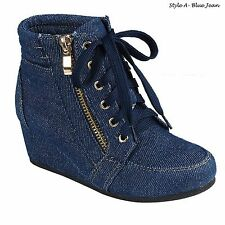 Women High Top Wedge Heel SNEAKERS Platform Lace up Shoes Ankle Bootie Size 6