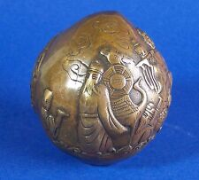 Vintage Chinese Bronze Paper Weight Eight Immortals Crossing the Sea Peach Shape