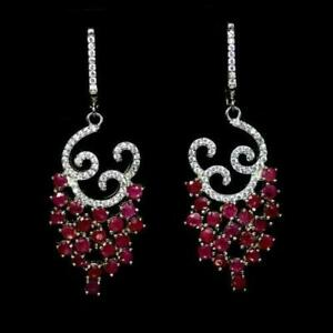 8.19ct Ruby & White Topaz Statement Cocktail Earrings in 925 Sterling Silver
