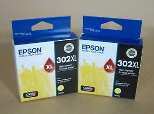 [1309*] TWO (2x) EPSON 302XL YELLOW INKS ( RRP>$70 )
