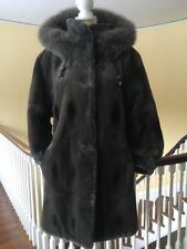 Sheared Mink and Fox Fur Parka Jacket Coat Olive Green with Removable Hood