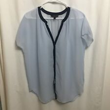Banana Republic Womens Blouse Two Toned Blue Invisible Button Down Sz Small