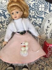 A 50's Doll Poodle Skirt Outfit Saddle Shoes 16 Inch Porcelain Eyelashes