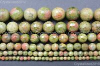Natural Unakite Gemstone Faceted Round Beads 2mm 4mm 6mm 8mm 10mm 12mm 14mm 15""