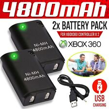 UK 4800mAh Rechargeable Battery USB Charger Cable Pack for XBox 360 Controller