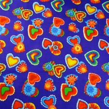 """""""Tie Dyed"""" Hearts Orange, Red, Green Blue & Gold on Purple, Cotton, Per 1/2 Yd"""