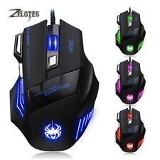 ZELOTES Gaming Maus 7200 DPI Optisch Kabel Gewichte 7 Tasten USB Gamer Mouse