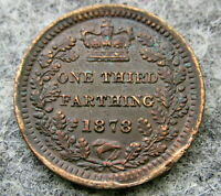 GREAT BRITAIN VICTORIA 1878 1/3 THIRD FARTHING COLONIAL ISSUE STRUCK FOR MALTA