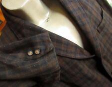 Large True Vtg 50s Union Made Shabby Black/Olive/Blue Plaid Wool Blazer Jacket
