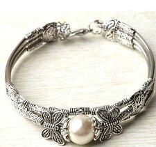New Jewelry tibet silver white sea shell pearl bracelet 12mm beads