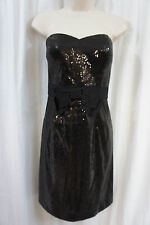 M60 Miss Sixty Dress Sz 8 Black Fully Sequined Strapless Evening Cocktail Dress