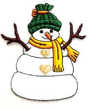 SNOWMAN W/2 GOLD HEARTS IRON ON APPLIQUE