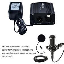 1-Channel 48V Phantom Power Supply for Condenser Microphones+ Adapter BONUS XLR