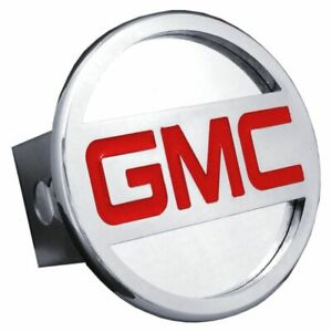 "GMC Red and Chrome Stainless Steel 2"" Trailer Tow Hitch Cover"