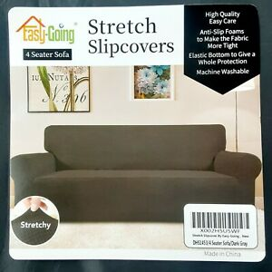 Easy-Going Stretch Sofa Slipcover 1-Piece 4 Seat Couch Cover Gray Textured Fab