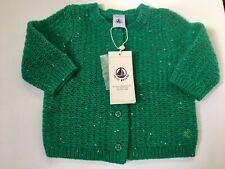 Petit Bateau Wool Blend Green Baby Cardigan Size 6 Months BNWT