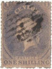 Ceylon 1861-64 Q.V. 1 Shilling slate blue used stamp