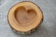 Oak Wood Slice Ring Holder, Rustic Wedding Ring Bearer Pillow