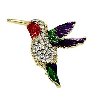 Large Hummingbird Crystal Brooch Pin with Sparkly Multicolor Rhinestones Gold
