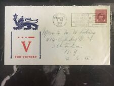 1944 Montreal Canada Patriotic Cover To Ithaca NY V For Victory