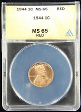 1944 LINCOLN WHEAT CENT GEM UNC ANACS MS65 RED US COIN (452)