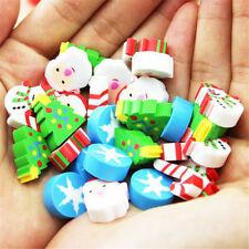33pc Assorted Christmas Tree Santa Claus Snowflake Mini Erasers Party Gift Prize