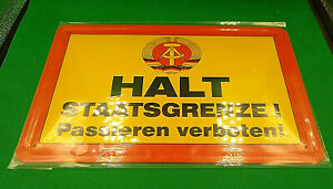 EAST GERMAN/DDR/NVA Border Warning sign wall plaque (Reproduction Nostalgia)