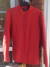 Eileen Fisher Red Orange Wool Cashmere Coat Jacket Women's Large