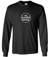 White US Border Patrol Logo T-Shirt Trump Immigration Black Long Sleeve Shirt