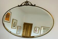 Vintage Antique Art Deco Brass Oval Bevelled Edge Wall Mirror On Chain