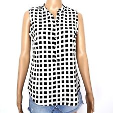 New York and Company Stretch Small Black White Button Down Sleeveless Top