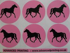24 trotto per pony SILHOUETTE SU SFONDO ROSA PARTY BAG ADESIVI (155-05)