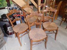 lot de chaises campagnardes, 5 chaises paillées, 5 chaises anciennes campagardes