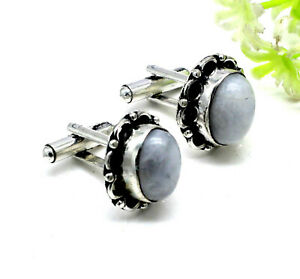 "925 Sterling Silver Rainbow Moonstone Gemstone Jewelry Cuff Links Size-1"""