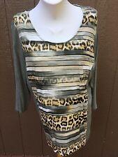 New Chico's Cheetah Stripes Fatigue Olive Green Animal Top Shirt 3 XL 16 18 NWT