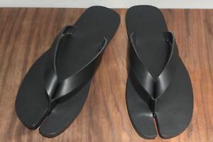 Handmade] Men Shoes Leather Tabi Flip Flop Slide Split Toe Sandals Babouche