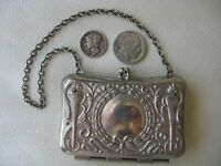 Antique Art Nouveau Silver Greek Olympic Flame Card Case French Doll Coin Purse