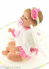 Real Life Looking 45cm Vinyl Silicone Reborn Handmade Mohair Baby Girl Doll #28