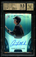 2013 Bowman Sterling Austin Meadows /25 Rookie Blue Refractor BGS 9.5 Auto 10 RC