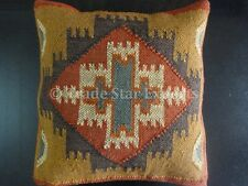 Hand Woven Kilim Pillow 18x18 Jute Cushion Cover Decorative Geometrical Sham